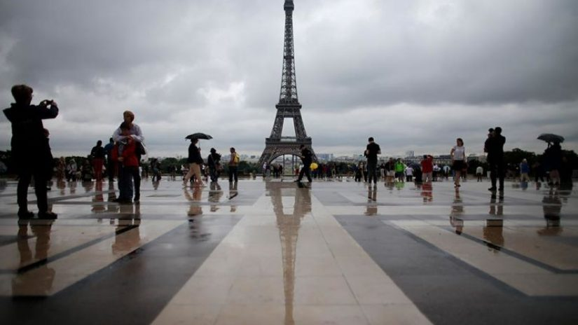 The Eiffel Tower on a wet and overcast day
