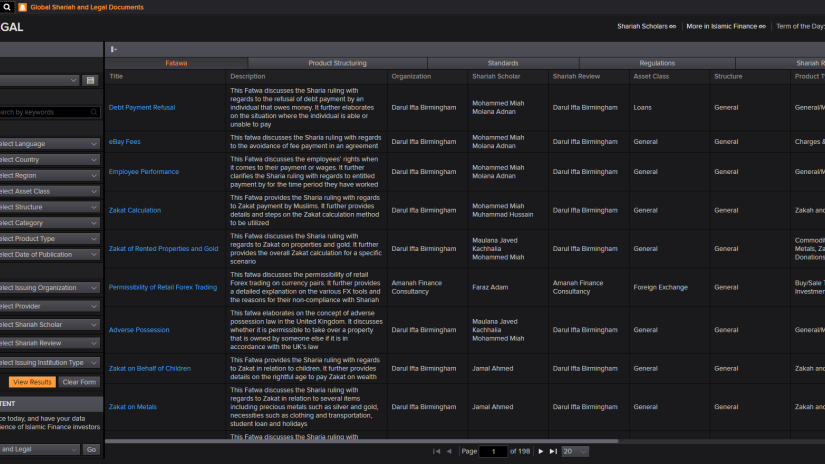 Screenshot of Eikon's Islamic Finance research library with a wide selection of reports and studies with advanced filtering options.