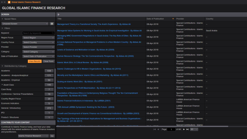 Screenshot of eikon showing islamic finance research library