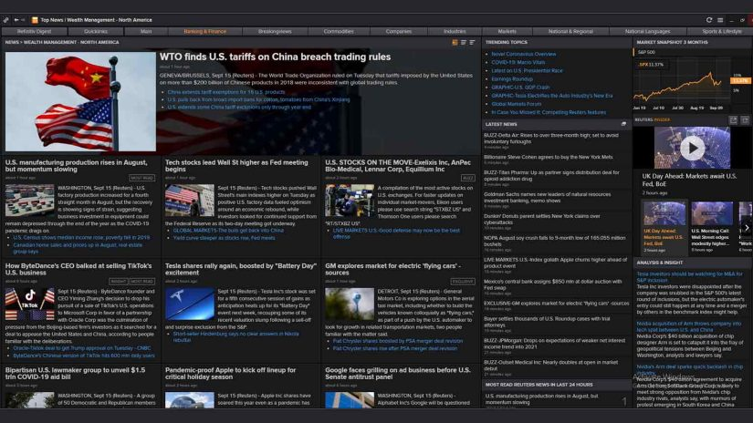 Screenshot of wealth management news in Eikon