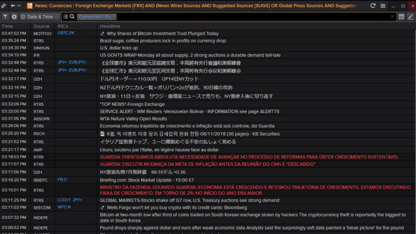 Screenshot of Eikon showing News for currencies and foreign exchange markets