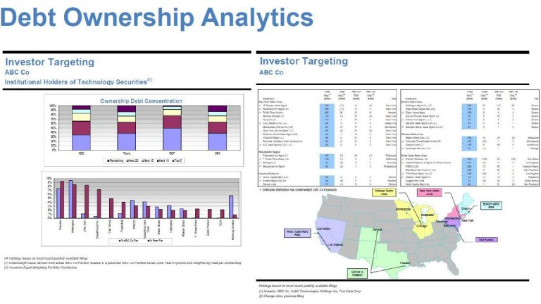 screenshot of debt ownership analytics showing investor targeting