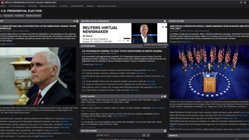 Screenshot of US elections app in Eikon displaying overview page with news, data and insight.