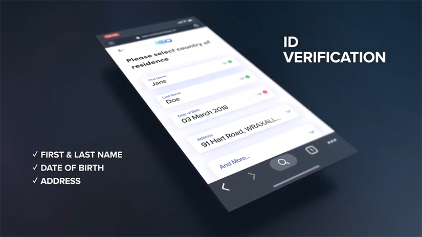 Mobile device showing various identification fields for Refinitiv's Qual-ID product